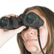 Beautiful girl with binoculars — Stock Photo