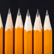Stock Photo: Black pencils in row