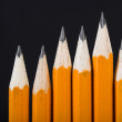 Black pencils standing out — Foto Stock