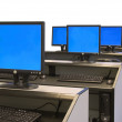 Stock Photo: Computer room - blue screens