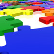 Multicolour puzzle close up - Stock Photo