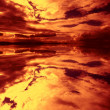 Firey sunset reflection — Stock Photo