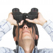 Find and seek - man with binoculars - Stock Photo