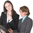 Business women comparing notes — Stockfoto