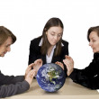 Business team with globe — Stock Photo #7633658