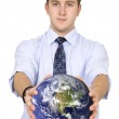 Business man holding globe — Stockfoto