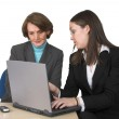 Business female partners with laptop — Stock Photo