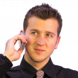 Business call - happy face — Stock Photo