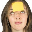 Business woman - post it paper - Stock Photo