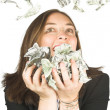 It's raining bucks  - business woman with glasses - Stok fotoğraf