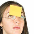 Stock Photo: Business womwith post it note
