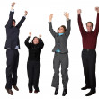 Stock Photo: Business diverse team jumping!
