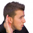 Can't hear you! — Stock Photo