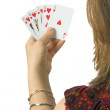 Play your cards right - casual woman - Stock Photo