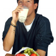 Man drinnking healthy milk - Stockfoto
