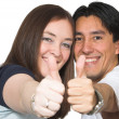 Royalty-Free Stock Photo: Casual couple thumbs up