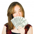 Beautiful woman with dollars on her hand — Stock Photo