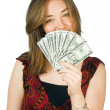 Casual woman with money 2 — Stock Photo