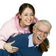 Girl and her father having fun — Stock Photo