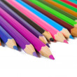 Stock Photo: Color pencils in a row