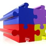 Coloured puzzle pieces — Stock Photo