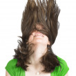 Beautiful girl in green with crazy hair - Stok fotoğraf