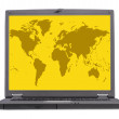 Computer laptop screen - yellow world - Stock Photo