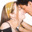 Couple in love with eyes closed - Stock Photo