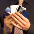 Business credit choice - hands - Stock Photo