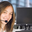 Friendly customer services with computer screen - Foto de Stock