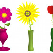 Stock Photo: Flowers and vases illustration