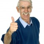 Casual gelukkig oude man — Stockfoto