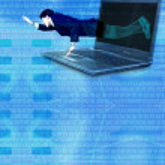 Break free from technology - blue binary — Stock Photo