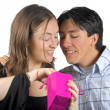 Stock Photo: Gift from him to her - pink bag