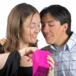 Gift from him to her - pink bag — Stock Photo