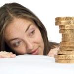Watching her savings go up — Stock Photo