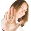 Stop!! - casual woman — Stock Photo