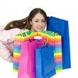 Happy teen with her shopping bags — Stock Photo