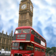 Big ben och london buss — Stockfoto