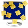 Flatscreen monitor with notes written on it — Stok fotoğraf