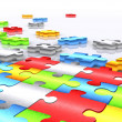 Colourful unfinished puzzle - 3d render - Stock Photo
