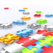 Stock Photo: Colourful unfinished puzzle - 3d render 2