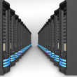 Business network of servers in perspective - Stock Photo