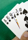 Royal flush with spades — Stock Photo