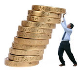 Business growth - pushing coins up — Stock Photo