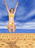 Beach jump of joy — Stock Photo