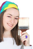 Beautiful girl with a brush — Stock Photo