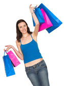 Girl in a shopping spree — Stock Photo