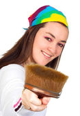 Beautiful artist with her brush — Stock Photo