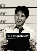 B & W mugshot of business man — Stock Photo